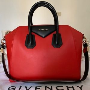 Givenchy Antigona Medium Red Black Handbag
